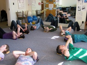 Denison University students loving their necks during Constructive Rest.