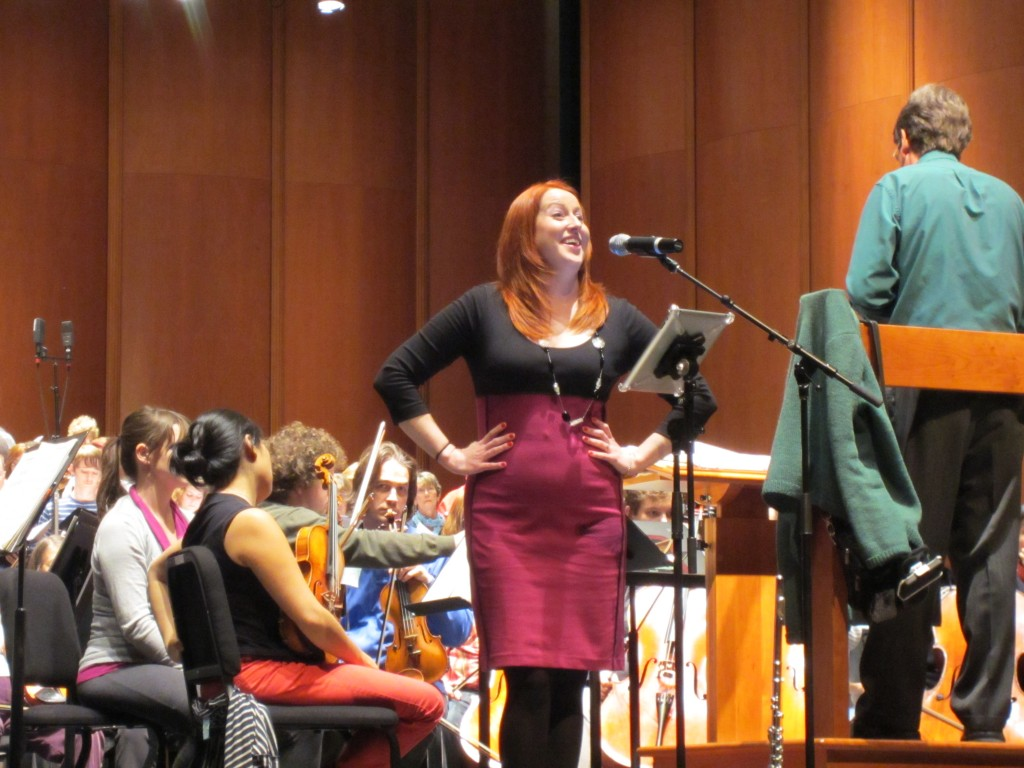 Lindsey Goodman in rehearsal for Holiday Pops performance with the West Virginia Symphony Orchestra.
